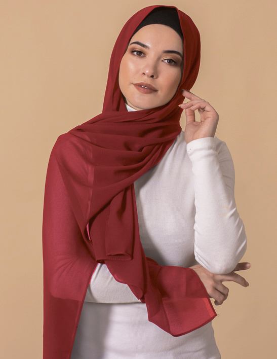 red georgette hijab