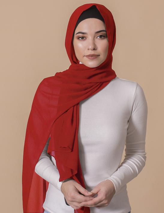 bright red georgette hijab
